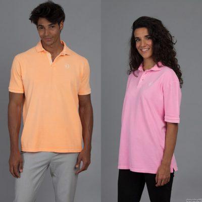Polo Chico naranja+Chica rosa